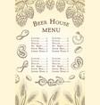 sketch beer bar or pub menu template vector image vector image