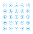 social media blue circular icons set vector image vector image