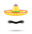 sombrero national mexican headdress and mustache vector image vector image
