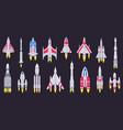 spaceships vehicles space rocket flying vector image