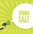spring sale announcement megaphone in retro vector image