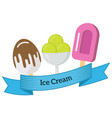 three different ice cream wrapped in blue ribbo vector image