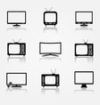 tv icons set vector image vector image