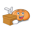 with box hamburger bun character cartoon vector image