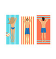 women and men in swimwear sunbathing on holidays vector image vector image