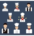 Chefs bakers and waiters flat avatar icons vector image