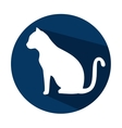 silhouette cat with shadow and blue circle vector image