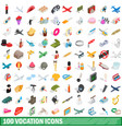 100 vocation icons set isometric 3d style vector image vector image