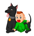 a baby playing with big dog vector image vector image