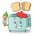 artist toaster character cartoon style vector image