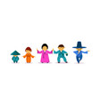 asian family wearing traditional clothes east vector image vector image