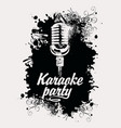banner for karaoke party with mic and inscription vector image vector image