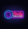 beauty salon neon sign salon design vector image