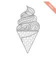 cartoon hand drawn ice cream in waffle vector image vector image