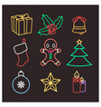 christmas objects in wireframe neon style vector image