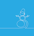 christmas winter snowman on blue background vector image vector image