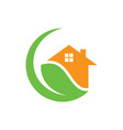 circle home leaf eco nature logo vector image
