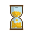 Coins in time hourglass vector image