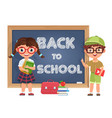 cute boy and girl kids back to school isolated vector image vector image