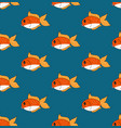 cute goldfish on indigo blue background vector image vector image