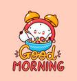 cute happy alarm clock pour milk into cereal vector image vector image