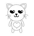 dotted shape enamored cat cute feline animal vector image vector image