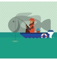 Fisherman on boat design camp concept sport vector image vector image