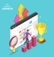 flat isometric concept of seo ranking vector image vector image