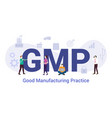 gmp good manufacturing practice concept with big vector image vector image