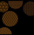 golden circles with different patterns on black vector image vector image