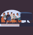 group of friends sitting on sofa or couch in vector image