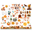 halloween characters and elements vector image vector image