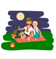 Happy family picnic resting Young couple outdoors vector image vector image
