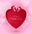 happy valentines day with red paper heart on love vector image