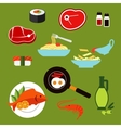 Healthy breakfast and lunch dishes flat icons vector image vector image