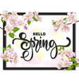 hello spring background with cherry blossoms vector image vector image