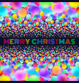 holographic merry christmas card with neon balls vector image vector image