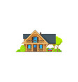 house bungalow cottage wood mansion wood hut vector image vector image