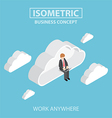 isometric businessman sitting on cloud and working vector image vector image