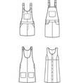 jean overall dress set vector image vector image