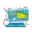 laptop computer with shopping online concept vector image vector image