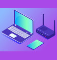 laptop with modem computer and tablet datacenter vector image