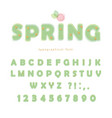 light green spring font transparent abc letters vector image vector image