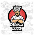 menu book cover design with chef cartoon vector image