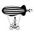 mustache man in the top hat flies on the airship i vector image vector image
