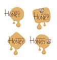 natural honey sticker symbol logo label vector image vector image