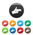 pistol hand sign icons set color vector image