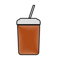 plastic cup with straw icon vector image vector image