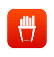 portion of french fries icon digital red vector image