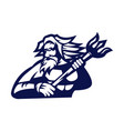 poseidon mascot logo outline version god logo vector image